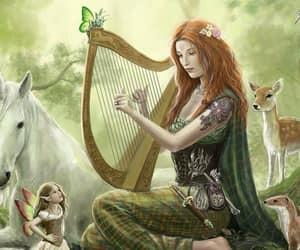 forest green dress, redhead harp animals, and unicorn fairies deer image