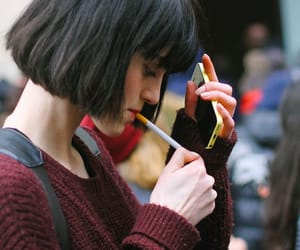 girl, cigarette, and short hair image