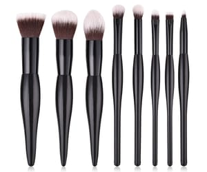 cosmetic, makeup brush, and black brushes image