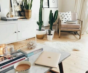 books, interior design, and plants image