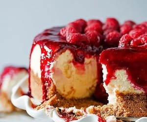 cheesecake, dessert, and raspberry image
