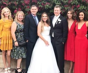 Nina Dobrev, julie plec, and wedding image