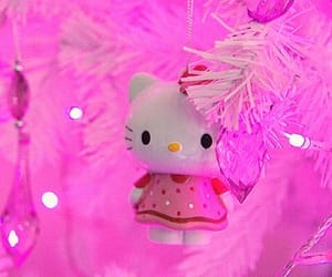 christmas tree, HelloKitty, and kawaii image
