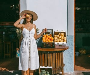 fruit, girl, and travelling image