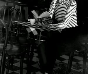 book, girl, and cafe image