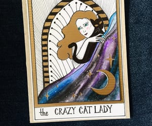 card, cat, and witchy image