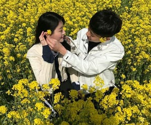 couple, asian, and flowers image