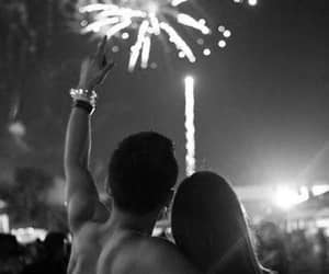 love, couple, and fireworks image
