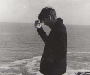 boy, black and white, and sea image