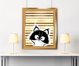 cat, etsy, and cat print image