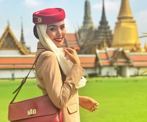 aviation, bags, and flight attendant image