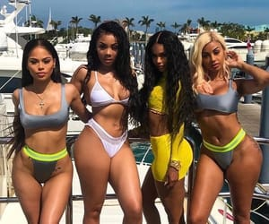 african american, best friends, and bikinis image