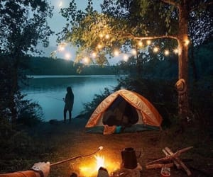 camping, nature, and fire image