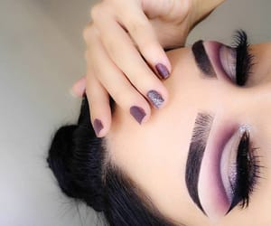 makeup, eyebrows, and purple image