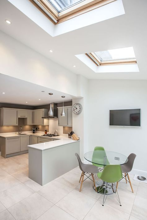 Single Storey Kitchen Extension From L E Lofts And Extensions In Teddington Don T Move Extend Victorian Extension Terraced Property Extension Kitchen Extension Kitchen Design Ideas Bi Fold Doors Grey Kitchen Pendant Lighting Kitchen Diner Sky
