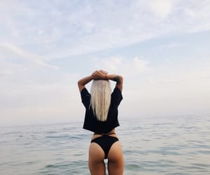 sea, sky, and fitnessgirl image