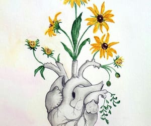 flower, yellow, and heart image