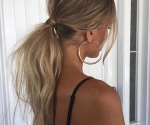 blonde, hairstyle, and tan image