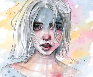 art, girl, and watercolor image