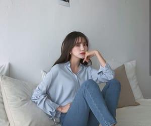 beauty, blue, and korean fashion image