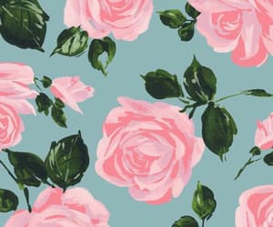 pattern, roses, and blue pastel image