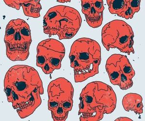 art, red, and skulls image
