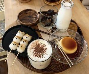 coffee, drinks, and flan image
