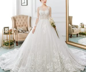 ball gown, see-through, and wedding image