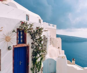 architecture, Greece, and flowers image