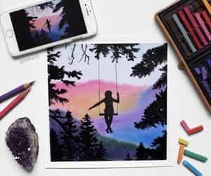 acrylic, art, and graphite image
