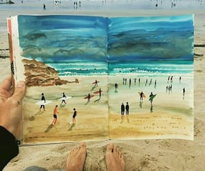 drawing, sea, and brach image