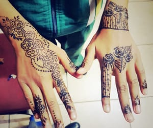 fashion, flowers, and henna art image
