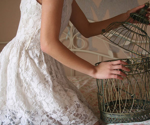 girl, dress, and cage image