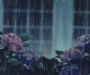 gif, anime, and rain image