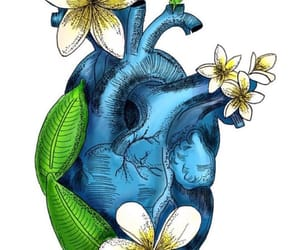 art, heart, and flowers image