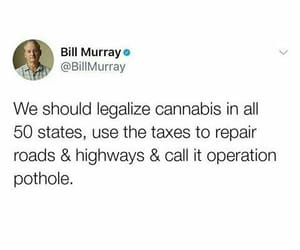 legalize cannabis, bill murray smart, and taxes will repair roads image
