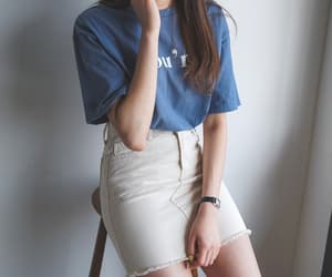 asian fashion, blue, and casual image