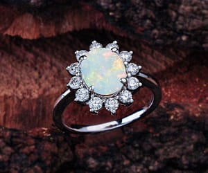 etsy, opal halo ring, and opal image