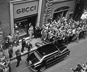 gucci and black and white image