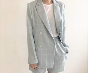 baby blue, checked, and suit image