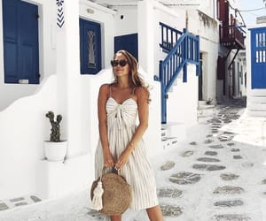 dress, purse, and tanned image