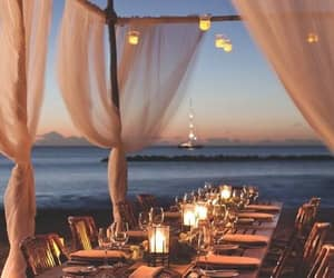 beach, sea, and dinner image