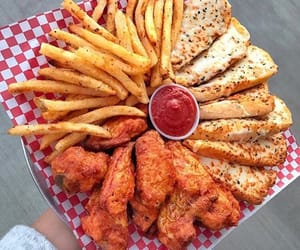 food, French Fries, and pizza image