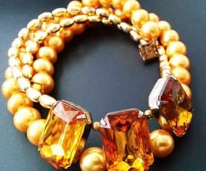 etsy, pearl necklace, and orange rhinestones image
