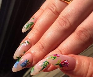 flowers, long, and nails image
