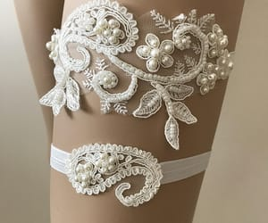 something blue, wedding accessories, and beaded lace garter image