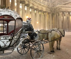 carriage, winter, and horses image