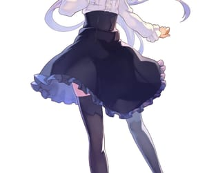 anime girl, white hair, and dress image