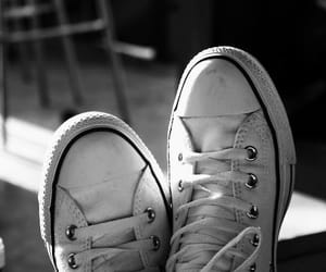 black and white, converse, and converse all star image