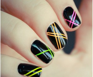 nails, neon, and tape mani image